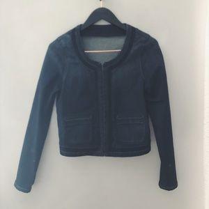 Madewell cropped denim jacket w/braid details sz S